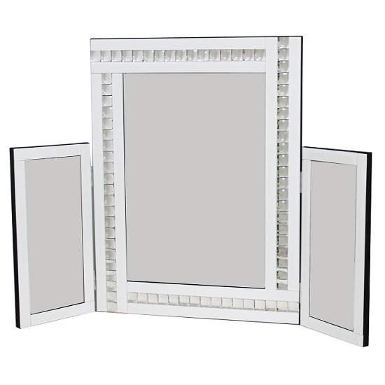 elena dressing table mirror in white with acrylic crystal