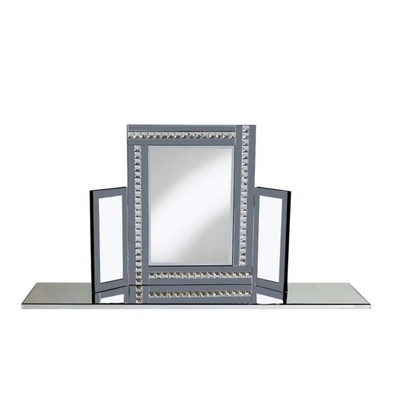 Elena Dressing Table Mirror In Silver With Smoke Crystals