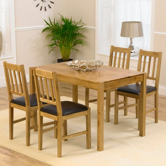 Promo Solid Oak Dining Table And 4 Promo Chairs