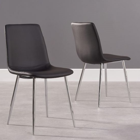Hemlock Black Faux Leather Dining Chair In A Pair 1