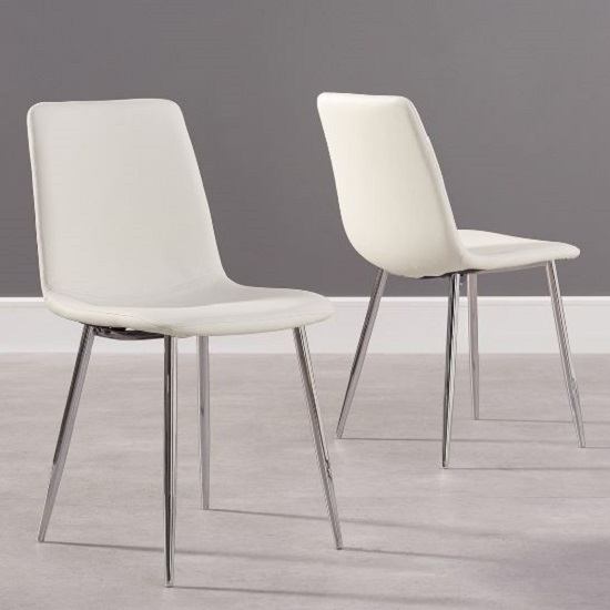 Hemlock White Faux Leather Dining Chair In A Pair