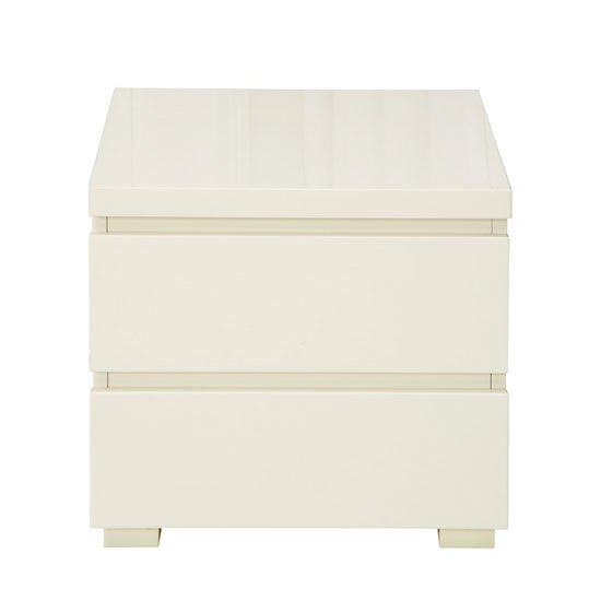 Curio Cream High Gloss Finish 2 Drawer Bedside Cabinet