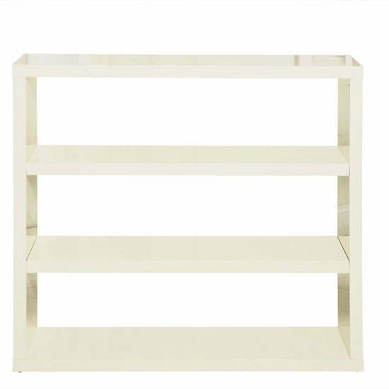Curio Cream High Gloss Finish Bookcase With 3 Shelf