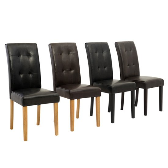 Contemporary Stitched Brown Dining Chair With Dark Wooden Leg