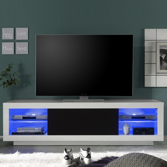 Wales Wide LCD TV Stand In White Gloss Front And Black With LEDs