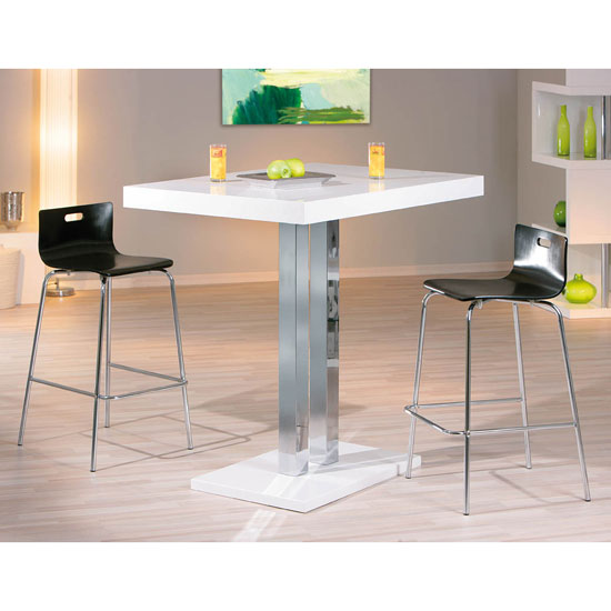 Read more about Palzo bar table in high gloss with 2 visconti white stools