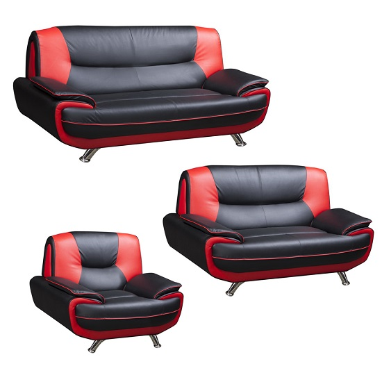 Claton Modern 2 Seater Sofa In Red And Black Faux Leather