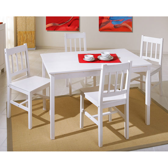 Paloma Wooden Dining Table And 4 Dining Chairs In White