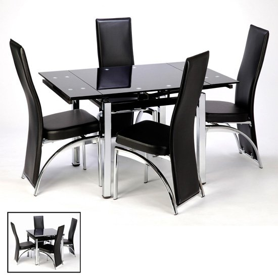 Paris Extending Black Glass Dining Table With Chrome Legs_3