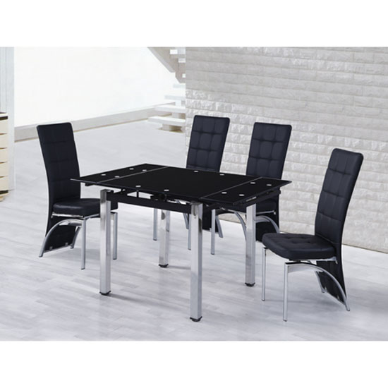 Paris Extending Black Dining Table With 4 Bellini Chairs 153