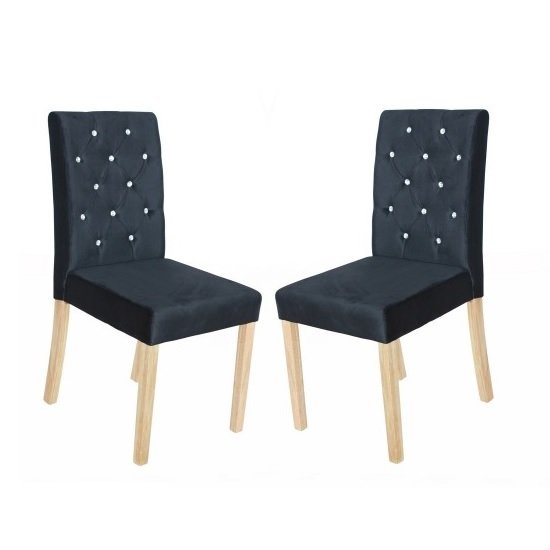 Kilcon Dining Chair In Black Velvet And Diamante in A Pair