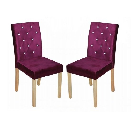 Kilcon Dining Chair In Purple Velvet And Diamante in A Pair_1