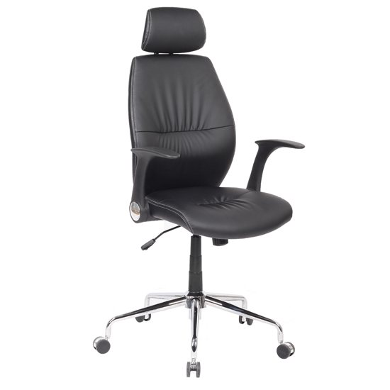 Henley Home Office Chair In Black Faux Leather With Castors