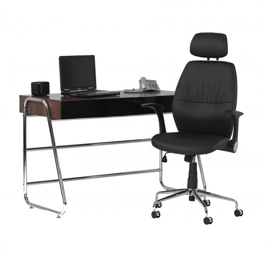 Henley Home Office Chair In Black Faux Leather With Castors_6