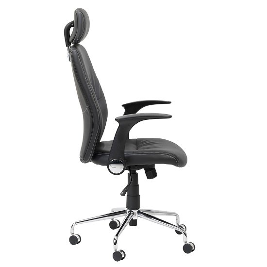 Henley Home Office Chair In Black Faux Leather With Castors_4