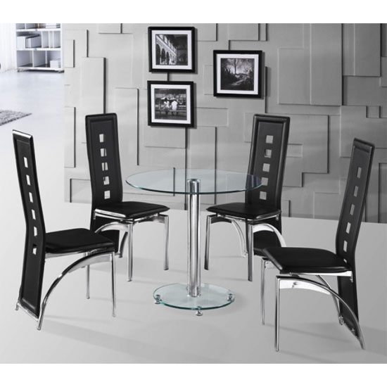 Kristof Round Clear Glass Dining Table And 4 Dining Chairs