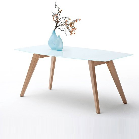 Corby Glass Dining Table In White Gloss With Beech Legs