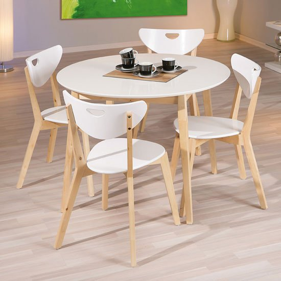 Wooden dining table and 4 chairs furniture in fashion - Table ronde bois blanc ...
