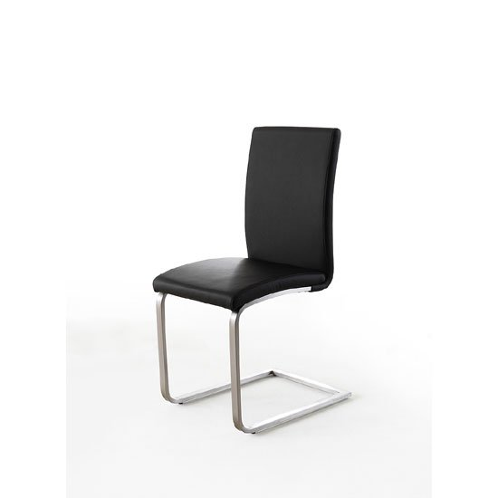 Pauline Black Faux Leather Dining Chair With Chrome Legs