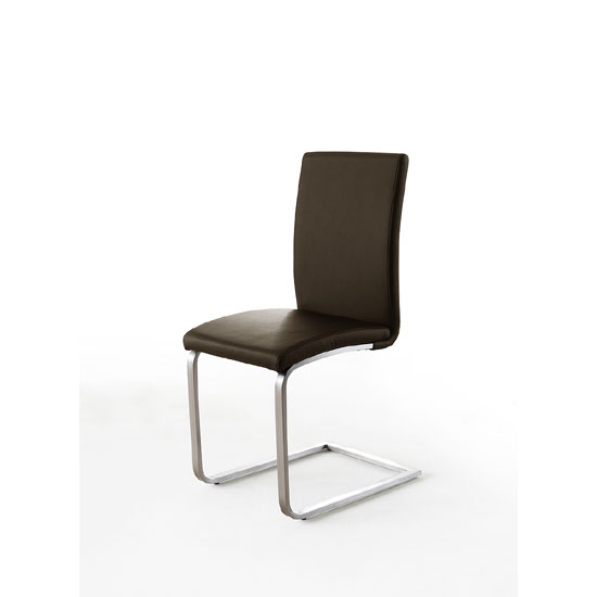 Pauline Brown Faux Leather Dining Chair With Chrome Legs