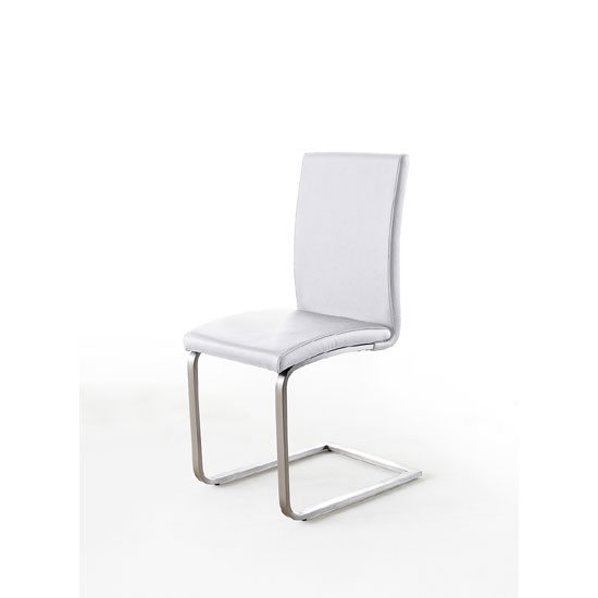 Pauline White Faux Leather Dining Chair With Chrome Legs