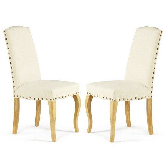 Madeline Dining Chair In Pearl Fabric And Oak Legs in A Pair