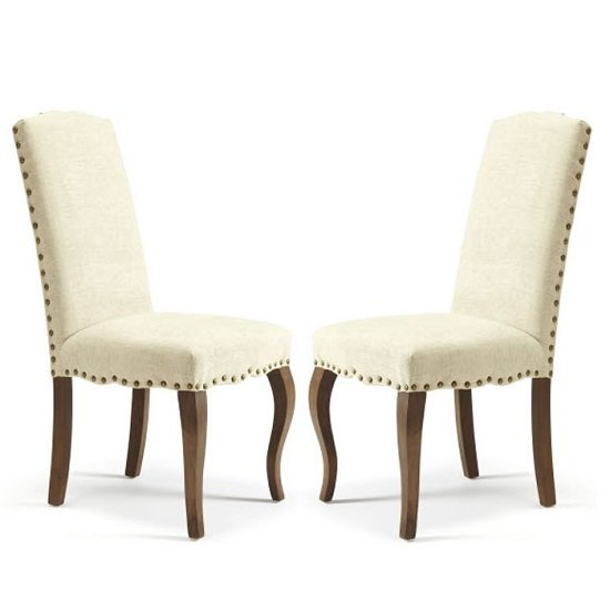 Madeline Dining Chair In Pearl Fabric And Walnut Legs in A Pair