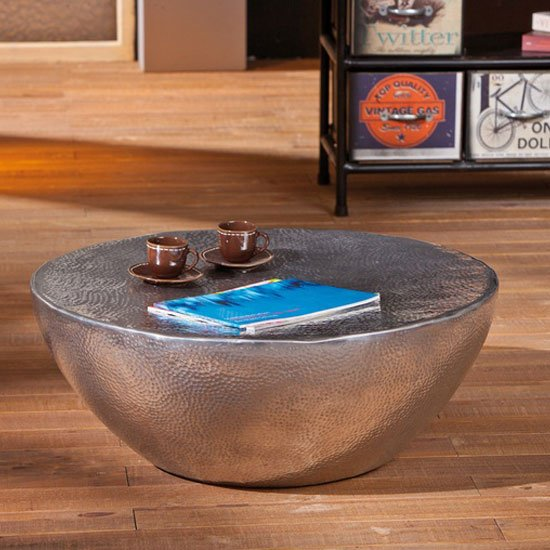 Pelas Metal Coffee Table With Aluminium Hammered Effect