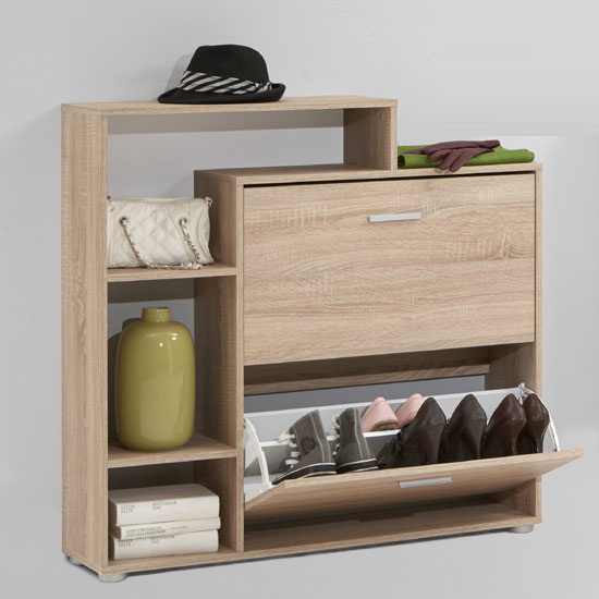 Penny99 Wooden Shoe Cabinet In Oak With 2 Flap And 3 Compartment