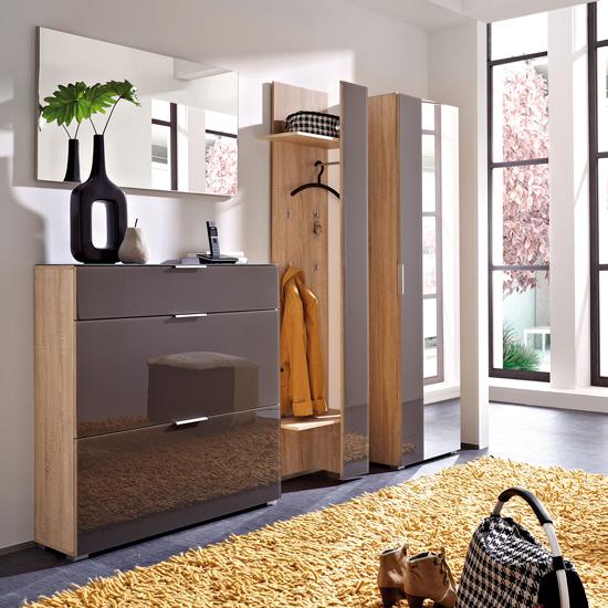 Perla Hallway Furniture Set In Canadian Oak And Graphite Gla