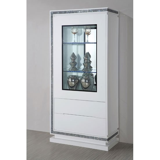 Lenovo Display Cabinet In White Gloss With 2 Door And LED  Display Cabinets, -> Armoire Bar Blanc Laqué Led