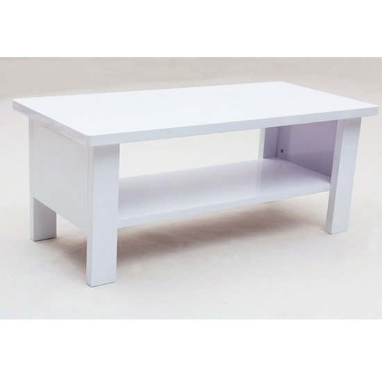 Peru High Gloss White Square Coffee Table 10350 Furniture In