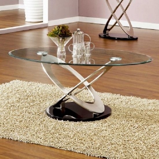 Read more about Sphere glass coffee table in clear with black gloss base