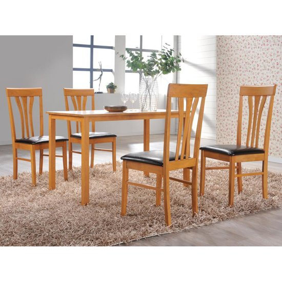 Plymouth Wooden Dining Table And 4 Plymouth Chairs - 4 Seater