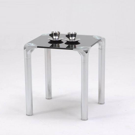 Polar Side Lamp Table In Black Glass Top