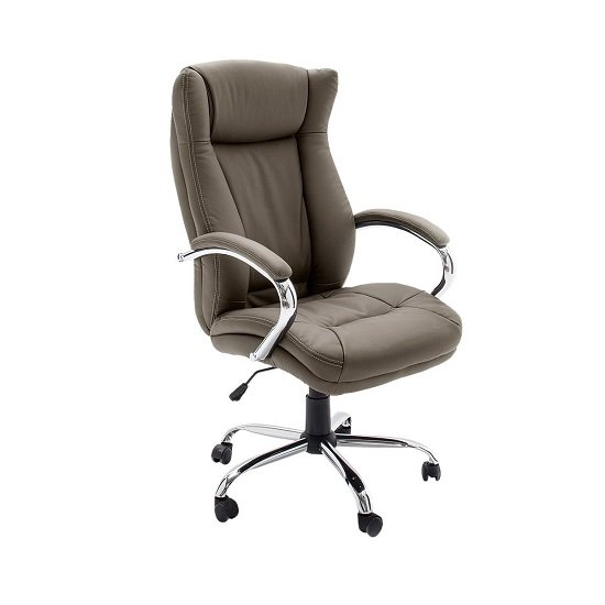 Epsom Home Office Chair In Cappuccino Faux Leather With Rollers