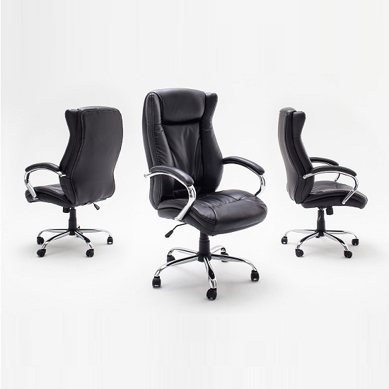 Epsom Home Office Chair In Black Faux Leather With Armrests_2