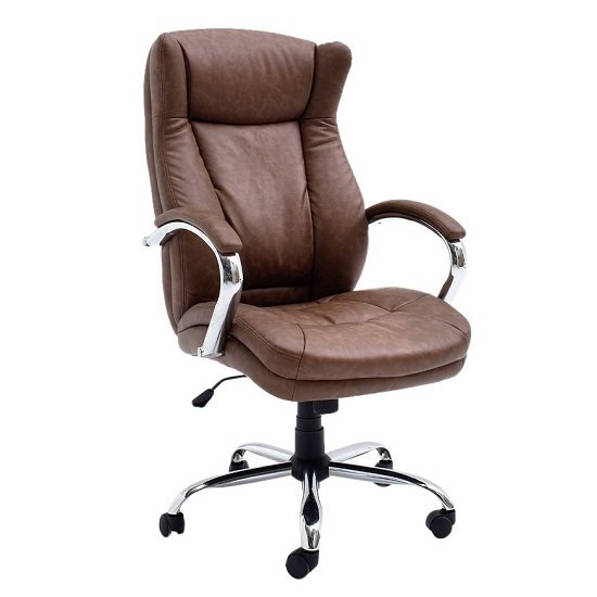 Epsom Home Office Chair In Vintage Cognac PU Leather And Rollers