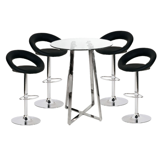 Poseur Glass Top Bar Table with 4 Leoni Black Bar Stools_1