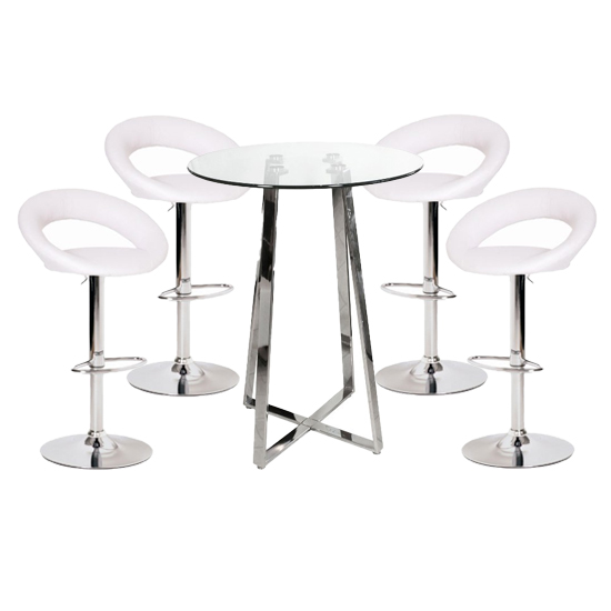 Poseur Glass Top Bar Table with 4 Leoni White Bar Stools