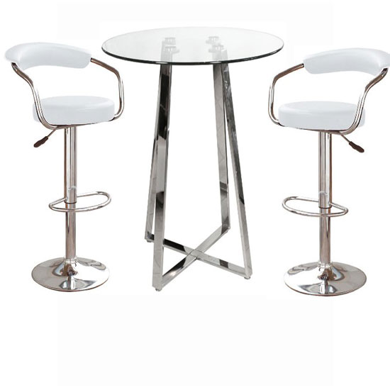 Poseur Glass Top Bar Table With 4 Zenith White Bar Stools