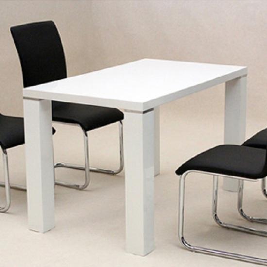 Prague Dining Table Rectangular In White High Gloss