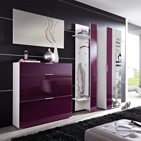 primera glass front hallway furniture in white 17762 furnitu. Black Bedroom Furniture Sets. Home Design Ideas