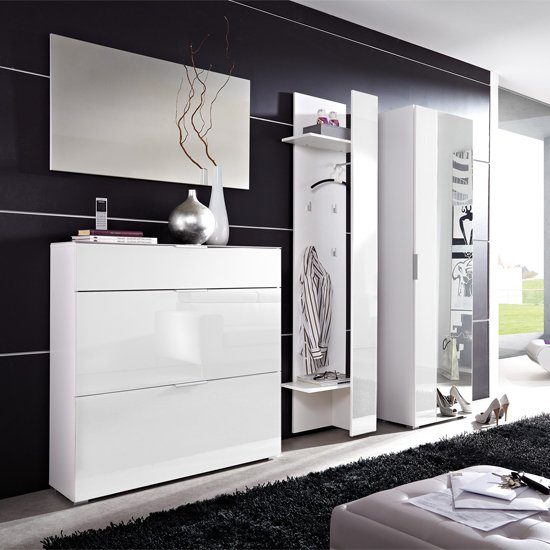 Read more about Primera glass front hallway furniture in white