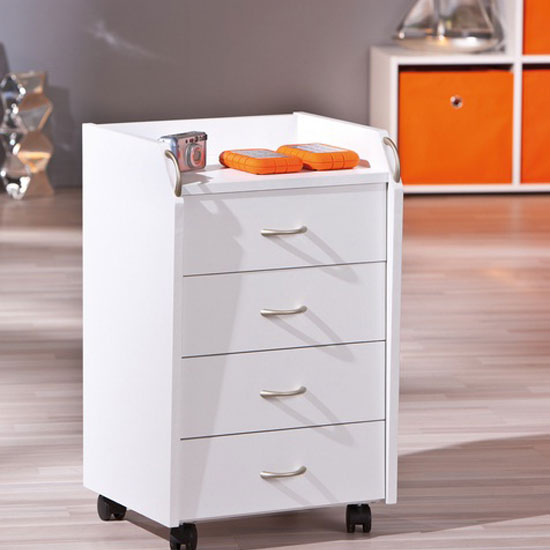Pronti White Finish 4 Drawers Office Container With Rollers