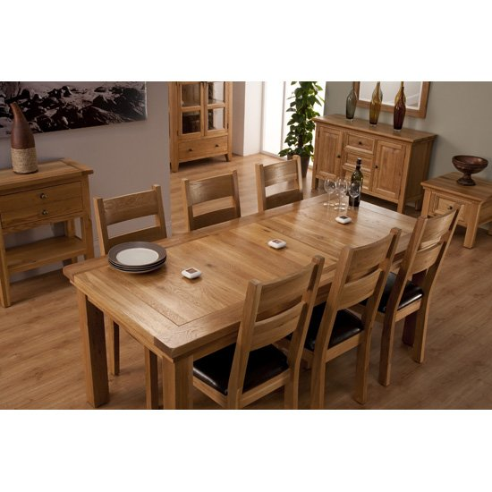 Provence extending dining table and 6 chairs wooden for Dining room table and 6 chairs