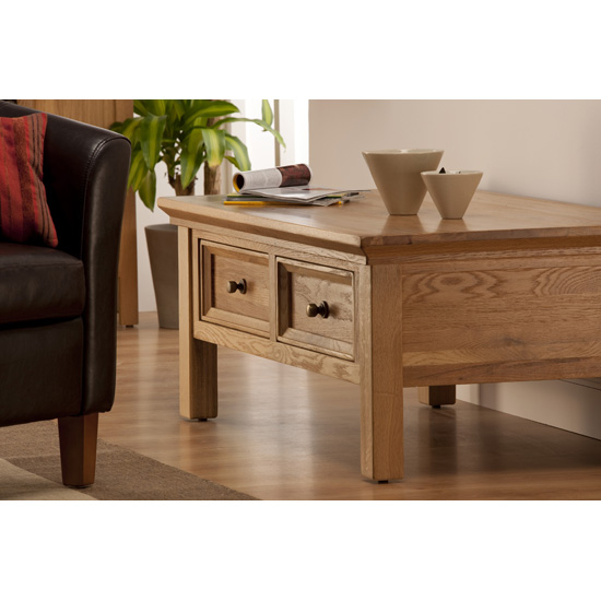 Provence Rectangular Coffee Table In Oak With 2 Drawers