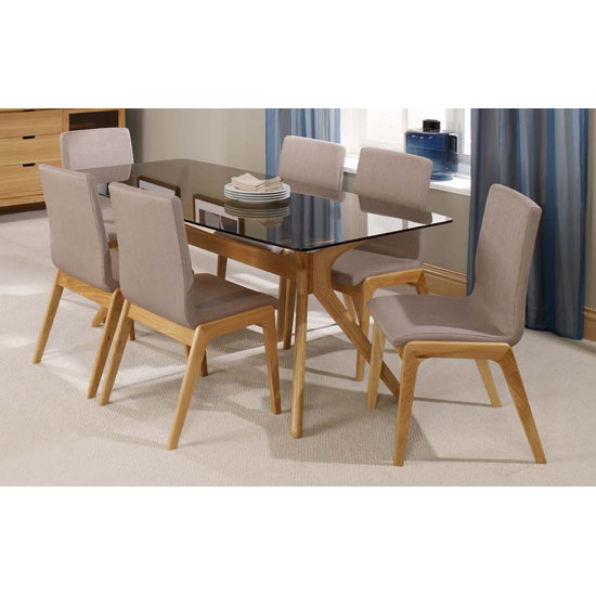 View Patio solid oak tinted glass top dining table and 6 dining chair