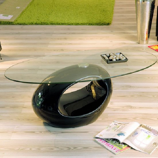 Niagra Glass Coffee Table With Gloss Black Base
