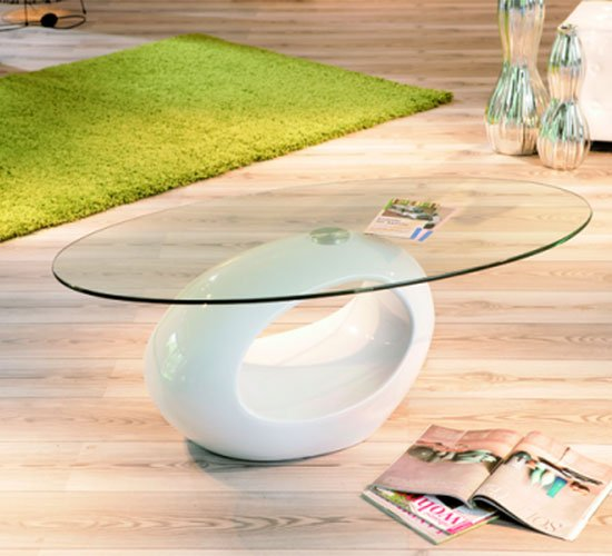Pucci Glass Coffee Table with White Gloss Base